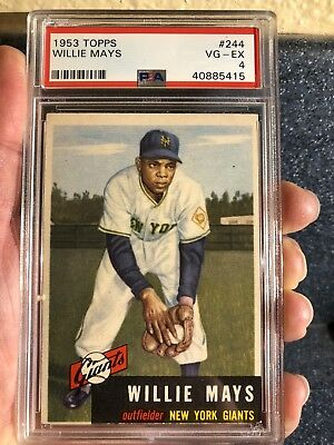 1953 Topps Willie Mays #244 GORGEOUS No Creases PSA 4 VG-EX HOF Short Print 5 6