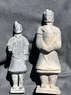 2 Antique Chinese Clay Terracotta Warriors, Army of Qin Shi Huang