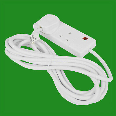 2x 6m White 2 Way Extension Lead Cable 13A 3 Pin UK Socket With Neon Light