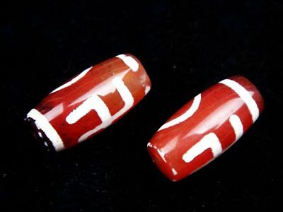 Pair Old Tibetan Agate Cinnabar *Blessing & Heaven* Pattern Dzi Beads #09171804R