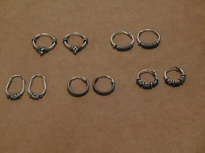 2d877c432 5 Pairs Small Bali Hoop Earrings 925 Sterling Silver Wire Beads Accents NEW