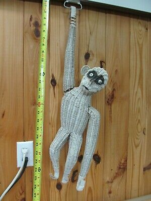 Vintage Wicker Monkey – Large Décor Piece, Hanging Animal Art