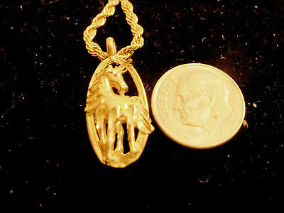 bling gold plated unicorn myth magic pendant charm rope chain hip hop necklace