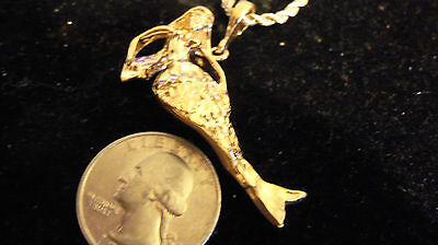 bling gold plated mermaid myth GOTH FASHION pendant charm chain necklace JEWELRY