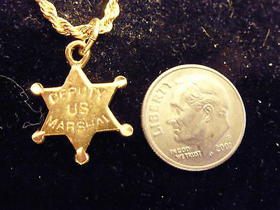 bling gold plated cop deputy u s marshal pendant charm fashion necklace jewelry
