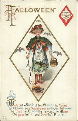H13 - VINTAGE HALLOWEEN Postcards - 2 WINSCH - Witch & Girl