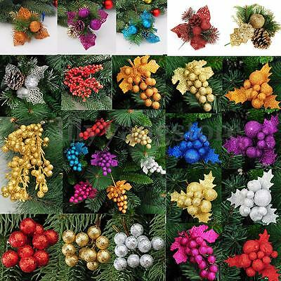 Christmas Xmas Tree Leaves Berries Hanging Party Ball Home Ornament Decoration
