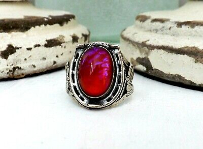 Mens Sterling Silver Dragons Breath Horse Shoe OLD Navajo JP Size 10 1/2 Ring