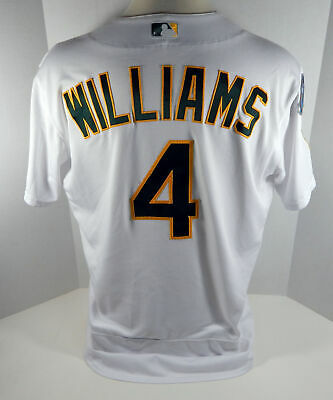 39fcc7585d6 2018 Oakland Athletics A s Matt Williams  4 Game Issued White Playoff Jersey