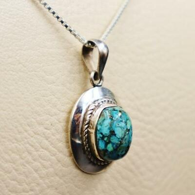 Amazing Antique Egyptian Silver Pendant Necklace with Natural Turquoise GemStone