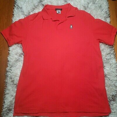 a5c2c0cb277 Psycho Bunny Solid Red Short Sleeve Polo Shirt 9   XL