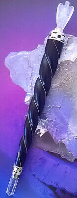 """Huge 8.5"""" Brazilian Rosewood Wand With Ice Quartz Crystal Angel, Sterling Silver"""