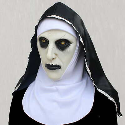 The Horror Scary Nun Latex Mask w/Headscarf Valak Cosplay for Halloween Costume