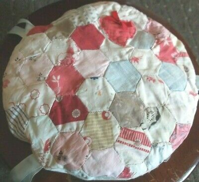 Antique Vintage Padded Hexagon Patchwork Quilt Stool/chair Pad/cover