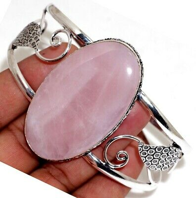 A8267 Rose Quartz 925 Sterling Silver Plated Bangle Jewelry