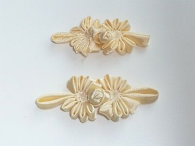 2 Beautiful Silk Flower Frog Fasteners - Lemon