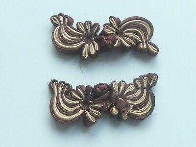 2 Beautiful Silk Flower Frog Fasteners - Brown & Cream