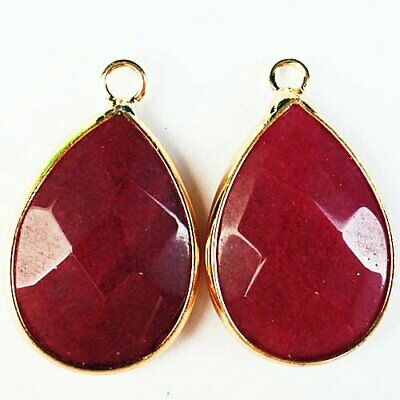 2Pcs 14x4mm Wrapped Faceted Red Jade Round Pendant Bead A77256