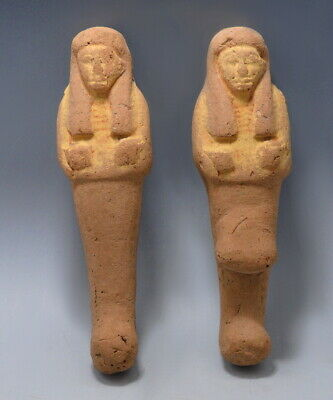 A Pair Of Egyptian Pottery Ushabti Figures An Overseer & A Worker (M400)