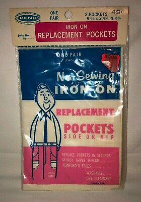 Penn Products - Iron-On Replacement Pockets - Vintage Sewing