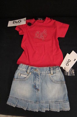 D&G - Completo Bimba T-Shirt M/Corte Strass+Gonna Jeans 6-9 Mesi Cartellino