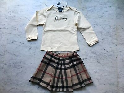Burberry - Completo Bimba T-Shirt M/Lunghe +Gonna Lana 4 Anni Cartellino
