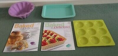 Baked & Delicious Magazines Issues 29, 35 Plus Silicone Brioche Mould Tart Trays
