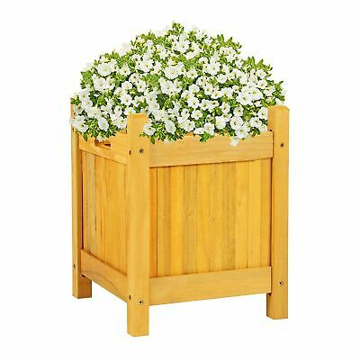 Square Wooden Garden Planter Outdoor Plants Flowers Pot Square Display New