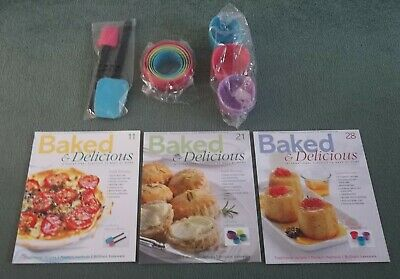 Baked & Delicious Magazines Issues 11, 21, 28 & Spatulas Cutters Pudding Moulds