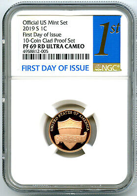 2019 S Lincoln Penny Ngc Pf69 Rd Ucam First Day Of Issue Proof Cent Fdi