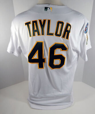 aca1595188f 2018 Oakland Athletics A s Beau Taylor  46 Game Issued White Playoff Jersey