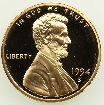 1994 S Deep Cameo Proof Lincoln Memorial Cent Penny (B04)