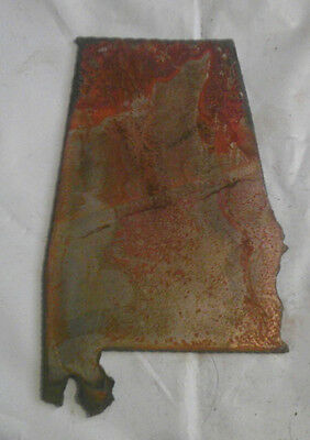 6 Inch ALABAMA State Shape Rough Rusty Metal Vintage Stencil Ornament Magnet