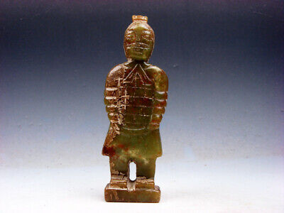 Vintage Nephrite Jade Stone Carved Sculpture Ancient Terracotta Warrior #041519