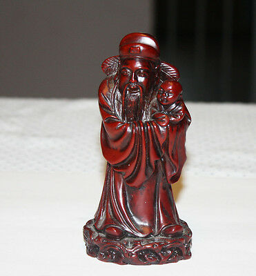 Vintage Wood Carved Chinese Immortal Figurine With Baby 5 Inches