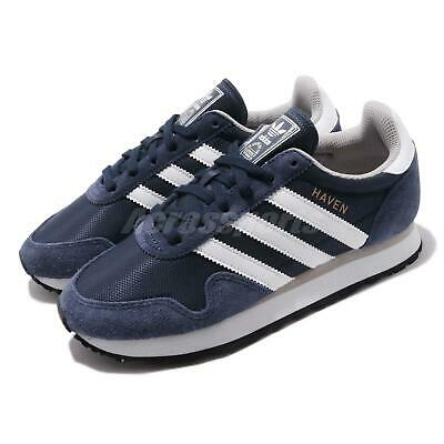 5cd4fc708ac63 adidas Originals Haven Navy White Men Womens Retro Running Shoes Sneakers  BB1280