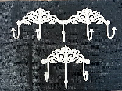 WHITE CAST IRON FLORAL ORNATE VICTORIAN 3 or 5 PRONG WALL HOOK DECOR - Choose