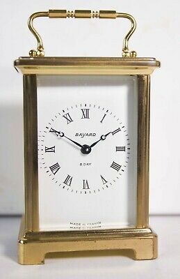 French Wind Up Brass Cased 8 Day Carriage Clock By Bayard - Working