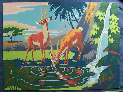 Paint By the Numbers, Art Oil Impala Antelope Jungle...Early vintage..12 X 16