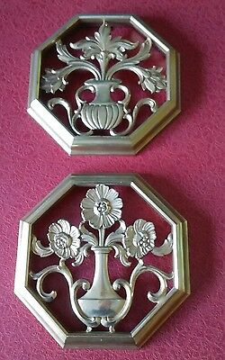 1962 Syroco Octagon Gold Flora Shabby Home Wall Carved Art Plaque Decor Pictures