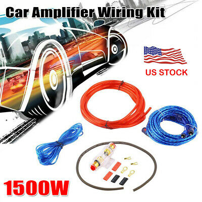 Powerful 1500W Car Audio Amplifier Wiring Kit Subwoofer AMP RCA Cable FUSE Set
