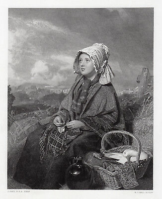 """Charming THOMAS FAED 1800s Antique Engraving """"Going to Market"""" Framed SIGNED COA"""