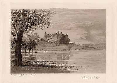 """Alluring Axel Herman Haig ORIGINAL Etching """"Linlithgow Palace"""" Framed SIGNED COA"""