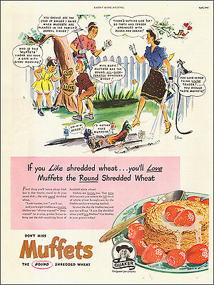 1947 vintage AD  Quaker's Muffetts  the Round Shredded Wheat Cereal 112814