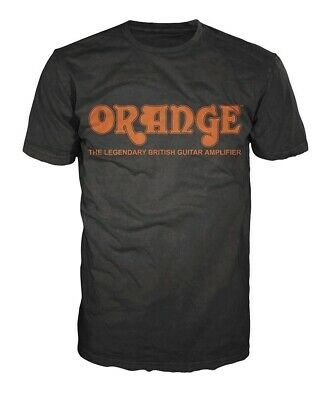 Orange Amplifiers Black Retro Logo Fitted 100% Cotton T-Shirt, Men's Small - NEW