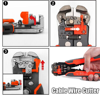 Adjustable Insulation Cable Wire Stripper Cutter Crimper Pliers Electric Tool US