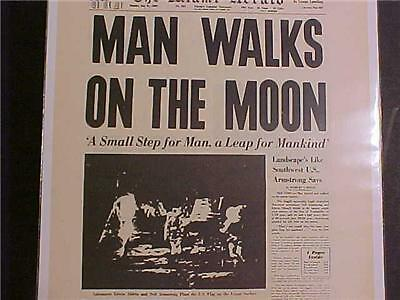Vintage Newspaper Headline ~Nasa Space Ship Men Lands Moon Man Walk Landing