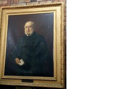 Antique Very Large 19th Oil Painting-Portrait of a MP .Signed H.Sihmiechen 1897