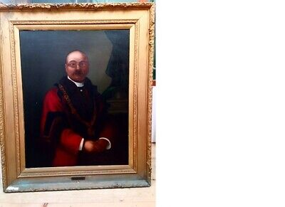 Antique V. Large Really old 19thc Oil Painting-Portrait of a Mayor.Framed