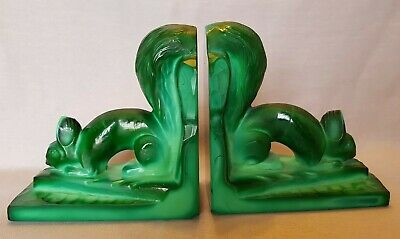 RARE 30s Malachite Czechoslovakian Art Deco Ingrid Glass Line Squirrel Bookends